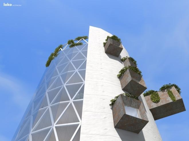 betonkern met glasgevel